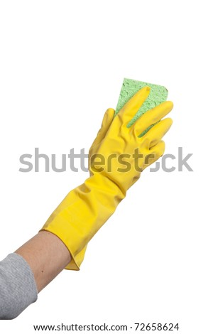 Holding a sponge isolated on white - stock photo