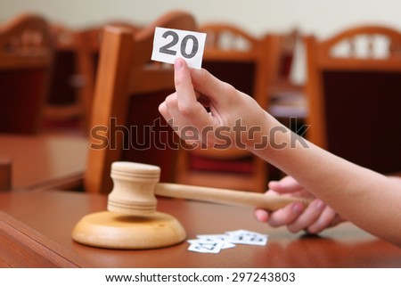 Holding Auction Paddle and Gavel - stock photo