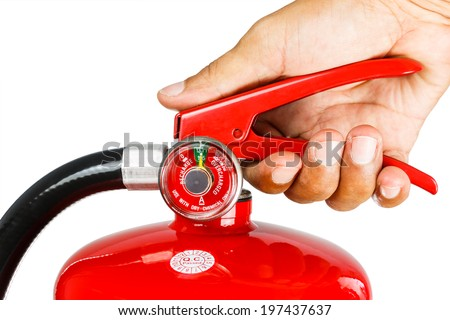 Holding fire extinguisher isolated over white background, with clipping path  - stock photo