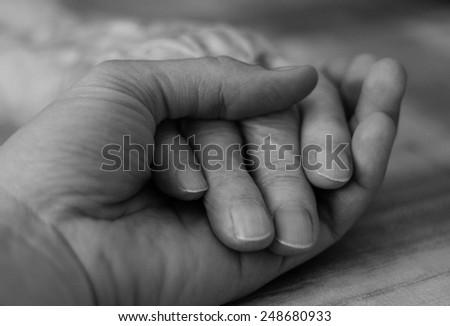 Holding grandmother's hand  - stock photo