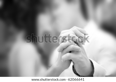 Holding hand groom and bride enjoying dancing - stock photo
