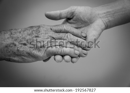 Holding old and young hands - stock photo