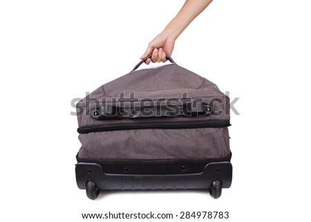 Holding suitcase in hand isolated on white background - stock photo