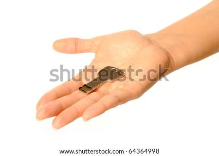 holding usb key - stock photo