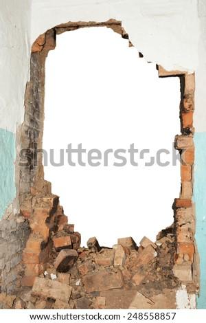 Hole brick wall - stock photo