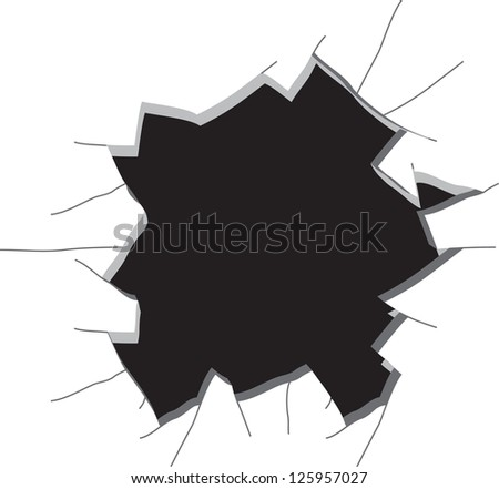 Hole in a wall. Raster version, vector file available in portfolio. - stock photo
