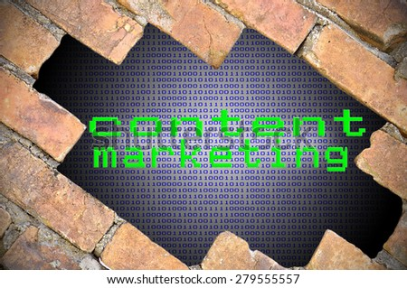 Hole In Brick Wall With Binary Digit Background Inside And Content Marketing Word.  - stock photo
