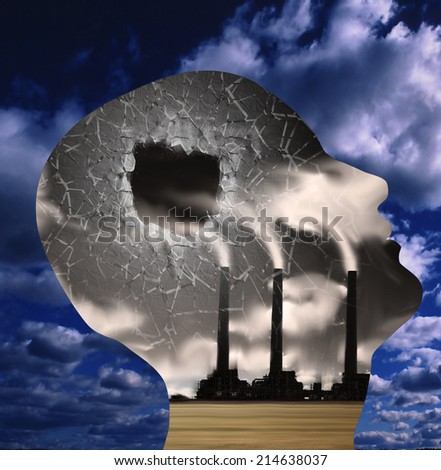 Hole in head factory mind - stock photo