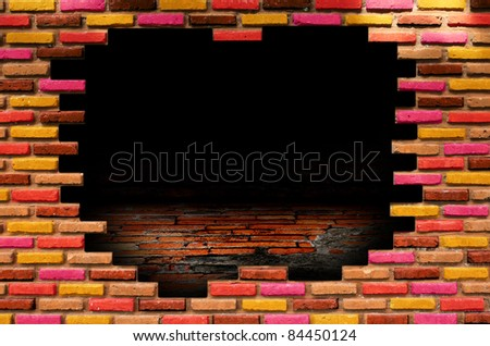 hole in old wall, brick frame grunge industrial interior Uneven diffuse lighting version. Design component - stock photo