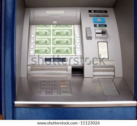 Hole in the wall cash machine or ATM - stock photo