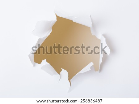 Hole on white paper set - stock photo