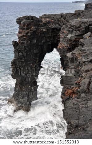 Holei Sea Arch, Hawaii Volcanoes National Park (USA) - stock photo