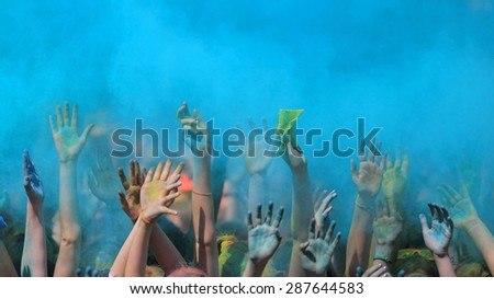 Holi festival with colorful hands  - stock photo