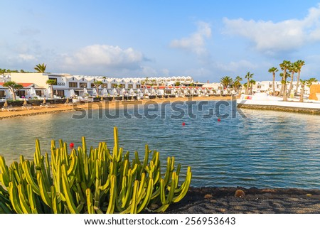 Holiday apartments in Costa Teguise seaside resort town, Lanzarote, Canary Islands, Spain - stock photo