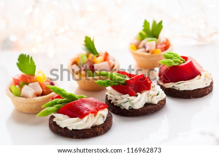 Holiday Appetizers on the platter - stock photo