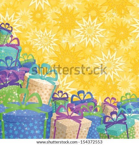 Holiday background with a pattern of festive gift boxes and stars. - stock photo
