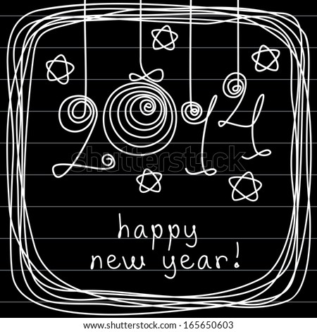 Holiday background with balls, stars, frame of doodles. Festive illustration in childish hand drawn sketch style with handwritten lettering - 2014 happy new year! Decorative card on black board  - stock photo