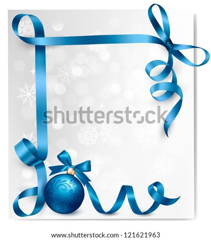 Holiday background with blue gift bow with gift ball. Raster version of vector - stock photo