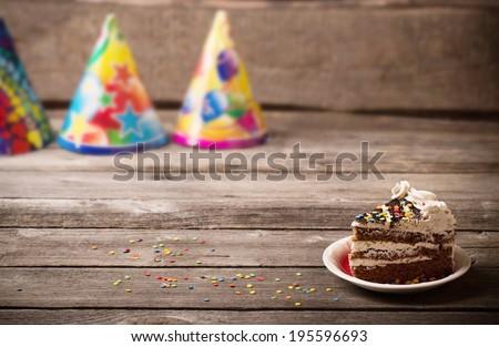 holiday background with cake - stock photo