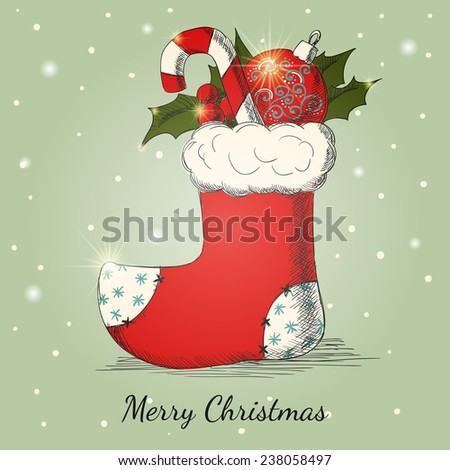 Holiday background with Christmas hand drawn sock.  - stock photo