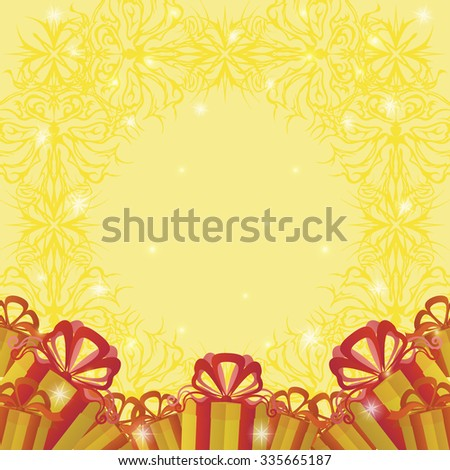 Holiday Background with Gift Color Boxes, Symbolical Yellow Pattern and Sparks - stock photo