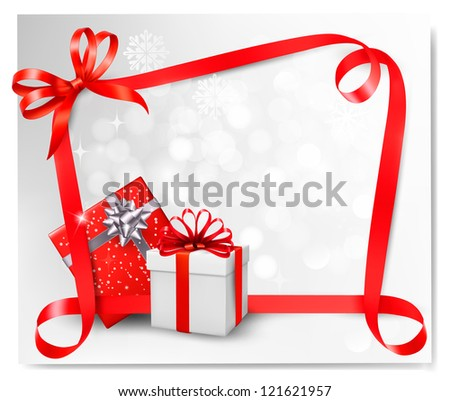 Holiday background with red gift bow with gift boxes. Raster version of vector - stock photo