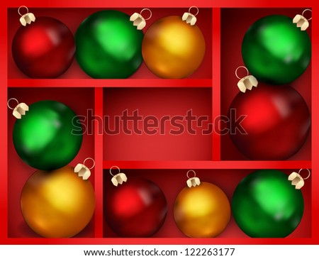 holiday background with red shelf, and New Year's balls on a shelf - stock photo