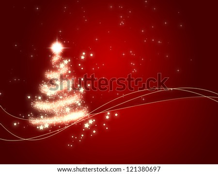 holiday background with shining Christmas tree - stock photo