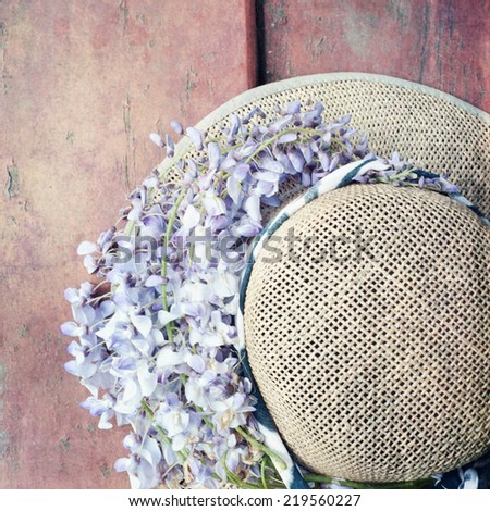 holiday background with straw hat  - stock photo