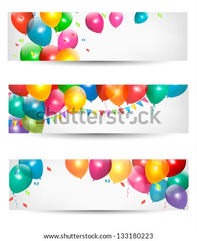 Holiday banners with colorful balloons. Raster version - stock photo