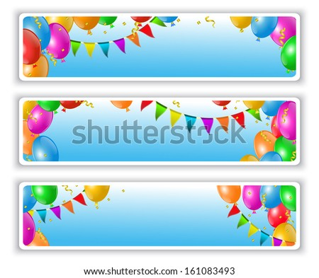 holiday banners with flags and colorful balloons - stock photo
