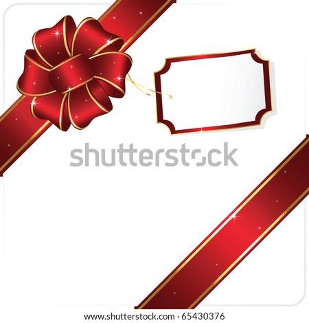 Holiday bow and ribbon, illustration - stock photo