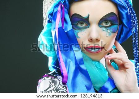 Holiday Bright Make-up.Beautiful Woman's Face - stock photo