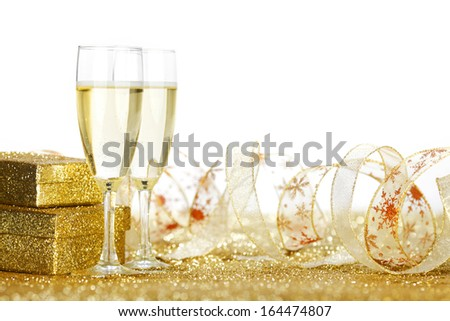 Holiday card with champagne and gifts - stock photo