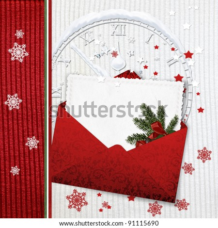 Holiday Cards with  envelope on knitted background - stock photo