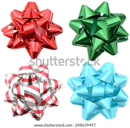 Holiday colorful bows isolated white - stock photo