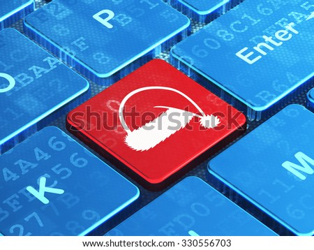 Holiday concept: computer keyboard with Christmas Hat icon on enter button background, 3d render - stock photo