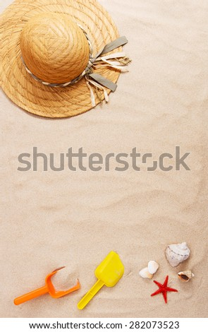 Holiday concept with summer beach accessories - stock photo