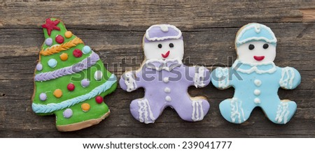 holiday cookie on rustic wooden background for the holidays  - stock photo