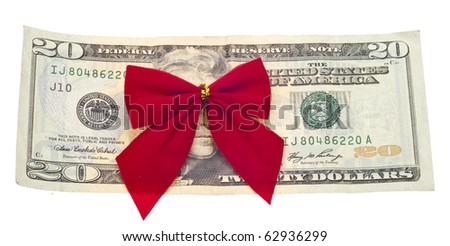 Holiday Cost Budget Economy Concept with American Currency and a Gift Bow Isolated on White with a Clipping Path. - stock photo