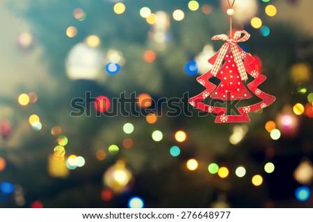 Holiday decoration on Christmas background - stock photo