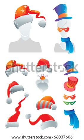 Holiday decorations for your avatar. Raster version. For vector version of this image, see my portfolio. - stock photo