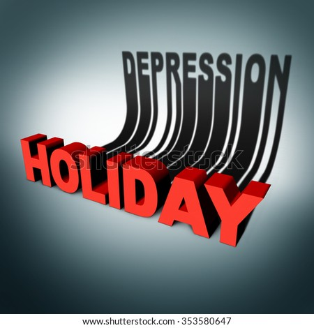Holiday depression concept and party season anxiety and emotional crisis concept as a three dimensional text with a cast shadow of the word for sadness as a metaphor for hidden seasonal stress. - stock photo