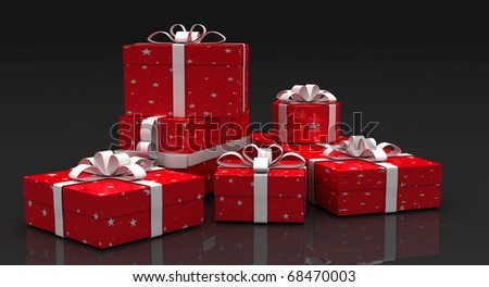 Holiday Gift Boxes Holiday Gift Boxes on dark background - stock photo