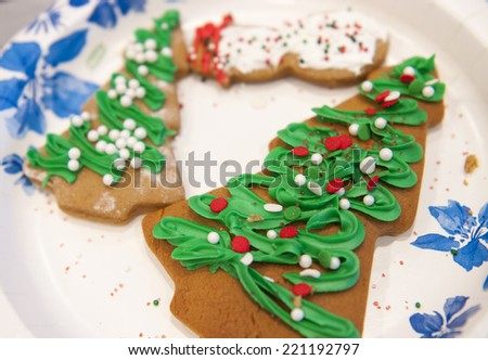 Holiday gingerbread cookies - stock photo