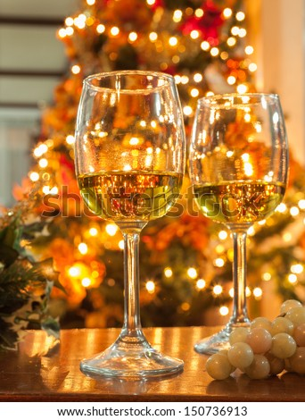 Holiday glass of wine - stock photo