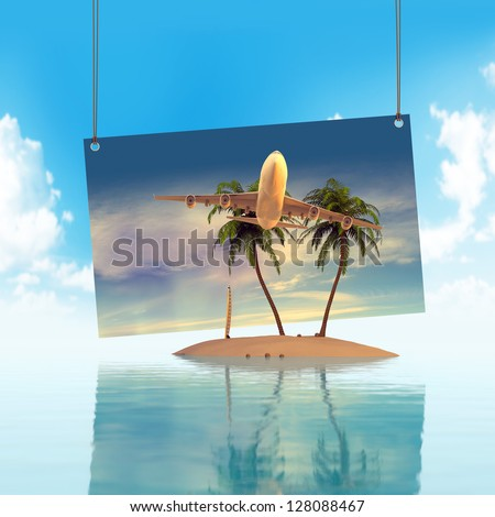 Holiday Island concept 3D - stock photo