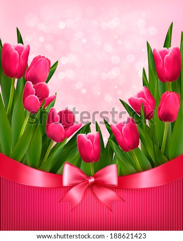 Holiday mother's Day background with bouquet of pink flowers with bow and ribbon. Raster version - stock photo