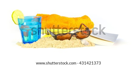 Holiday on the beach with towels, sunglasses, a book and something to drink against white background - stock photo