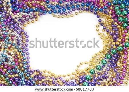 holiday or mardi gras beads makingframe - stock photo